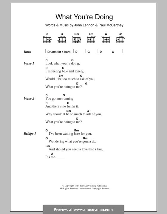 What You're Doing (The Beatles): Lyrics and chords by John Lennon, Paul McCartney