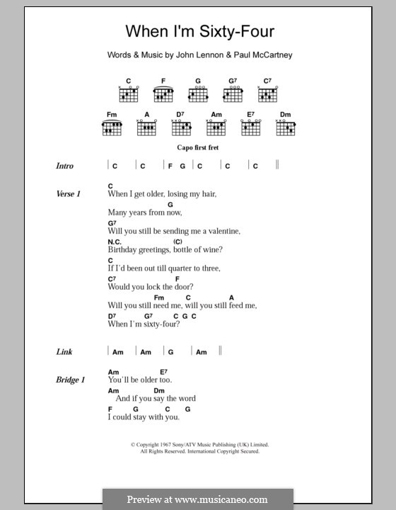 When I'm Sixty-Four (The Beatles): Lyrics and chords by John Lennon, Paul McCartney