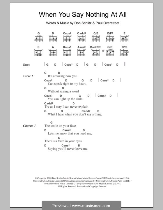 When You Say Nothing at All (Alison Krauss & Union Station): Lyrics and chords by Don Schlitz, Paul Overstreet