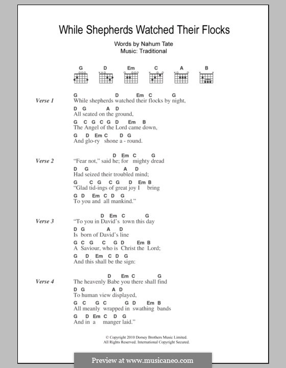 While Shepherds Watched Their Flocks: Lyrics and chords by folklore