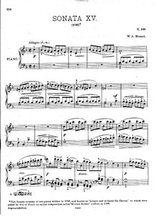 Sonata for Piano No.15 in F Major, K.533/494: For a single performer by Wolfgang Amadeus Mozart