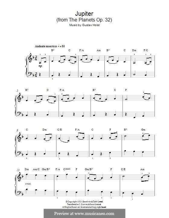 Jupiter: Version for easy piano (with chords) by Gustav Holst