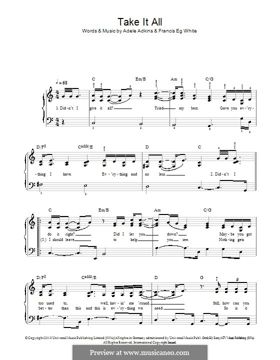 Take It All: For easy piano by Adele, Eg White