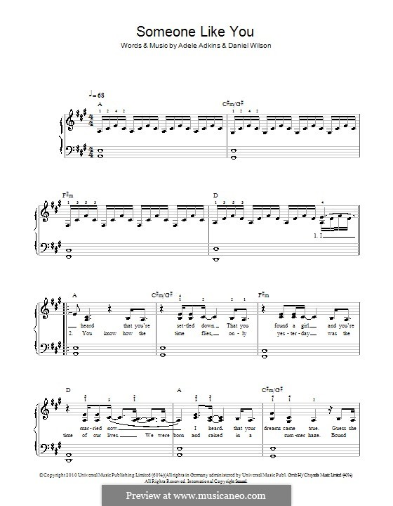 Someone Like You: For easy piano (A Major) by Adele, Daniel Wilson