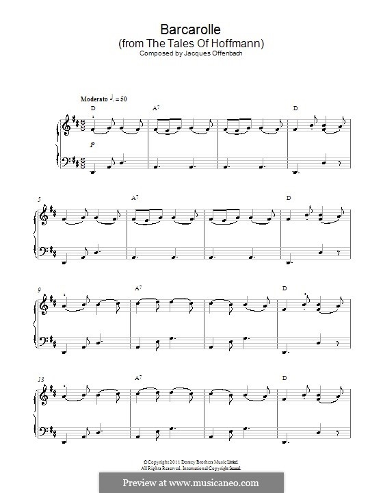 Barcarole: Version for easy piano (with chords) by Jacques Offenbach