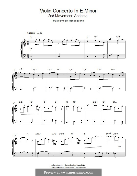 Concerto for Violin and Orchestra in E Minor, Op.64: Andante. Version for piano by Felix Mendelssohn-Bartholdy