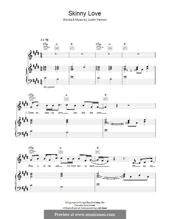 Skinny Love Bon Iver By J Vernon Sheet Music On Musicaneo