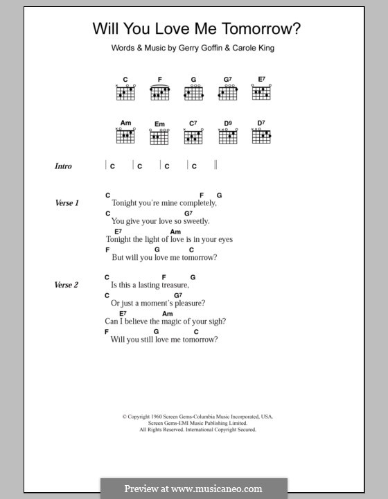 Will You Love Me Tomorrow (Will You Still Love Me Tomorrow): Lyrics and chords (The Shirelles) by Carole King, Gerry Goffin