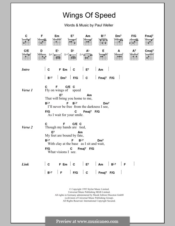 Wings of Speed: Lyrics and chords by Paul Weller