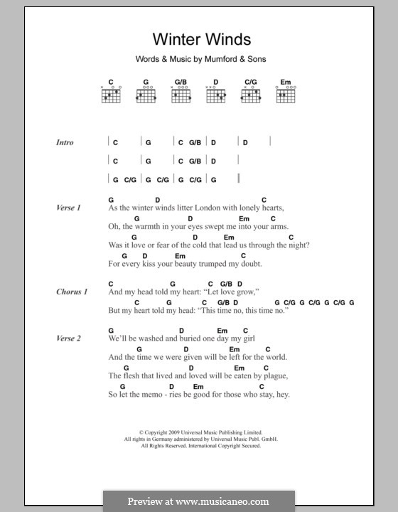 Winter Winds Mumford Sons By M Mumford Sheet Music On Musicaneo