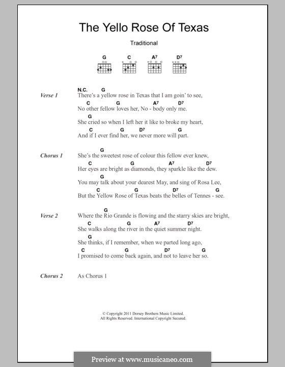 The Yellow Rose of Texas: Lyrics and chords by folklore