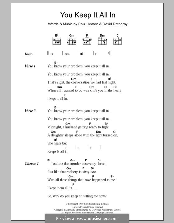 You Keep It All in (The Beautiful South): Lyrics and chords by David Rotheray, Paul Heaton