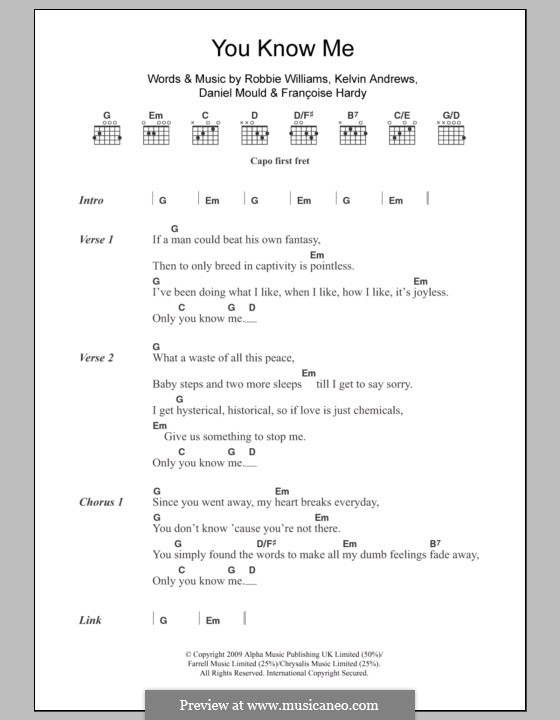 You Know Me: Lyrics and chords by Daniel Mould, Françoise Hardy, Kelvin Andrews, Robbie Williams