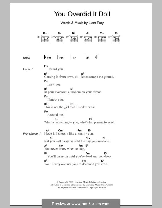 You Overdid It Doll The Courteeners By L Fray Sheet Music On