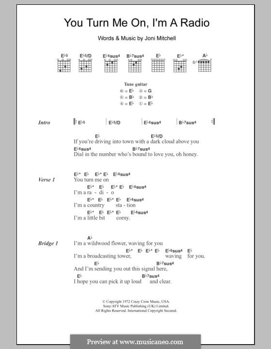 You Turn Me on I'm a Radio: Lyrics and chords by Joni Mitchell