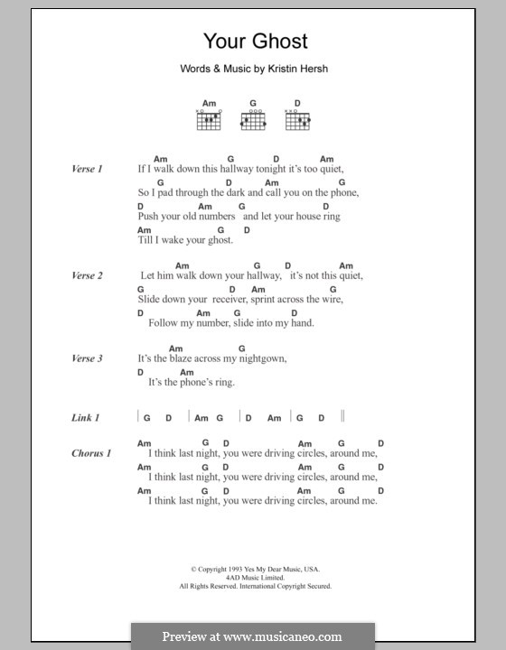 Your Ghost: Lyrics and chords by Kristin Hersh