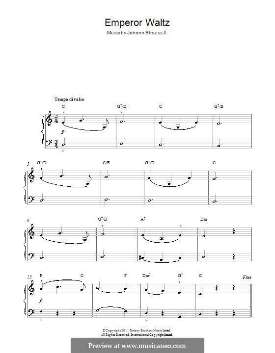 Emperor Waltz, Op.437: Version for easy piano by Johann Strauss (Sohn)