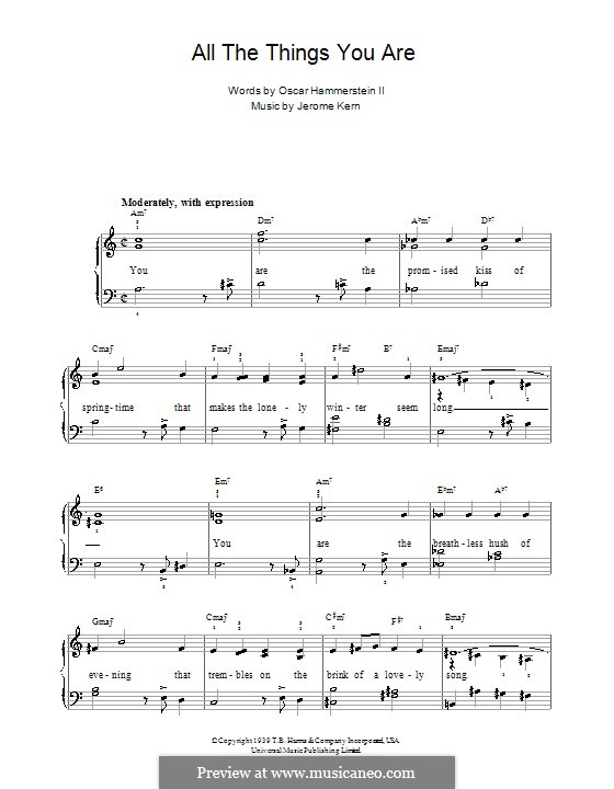 All the Things You are, for Piano: Version for easy piano with lyric and chords by Jerome Kern