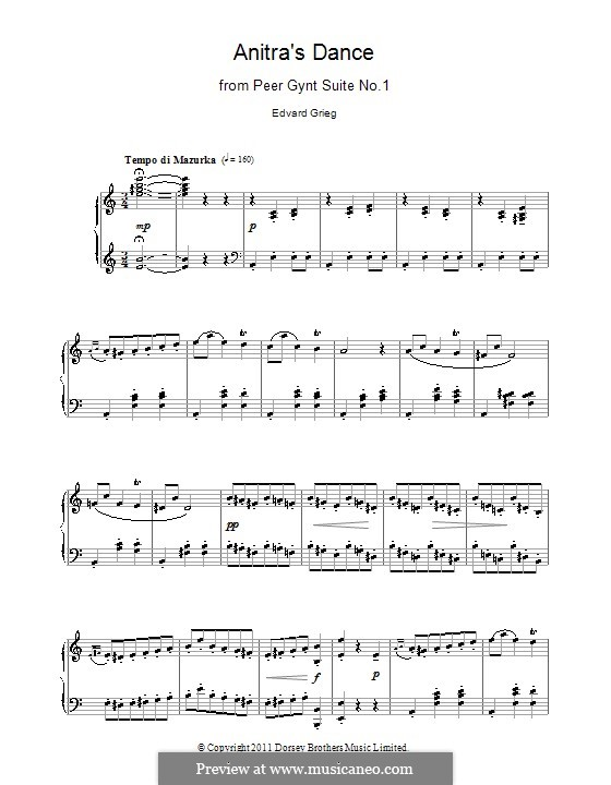 Suite No.1. Anitra's Dance, Op.46 No.3: For piano (high quality sheet music) by Edvard Grieg