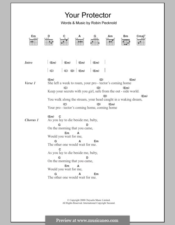 Your Protector (Fleet Foxes): Lyrics and chords by Robin Pecknold