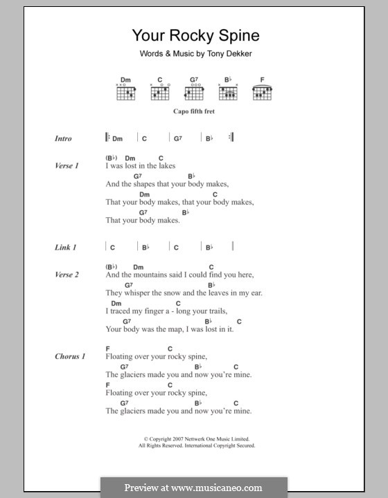 Your Rocky Spine (Great Lake Swimmers): Lyrics and chords by Tony Dekker