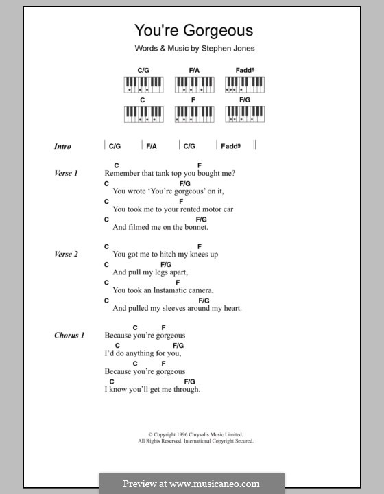 You're Gorgeous (Babybird): Lyrics and piano chords by Stephen Jones