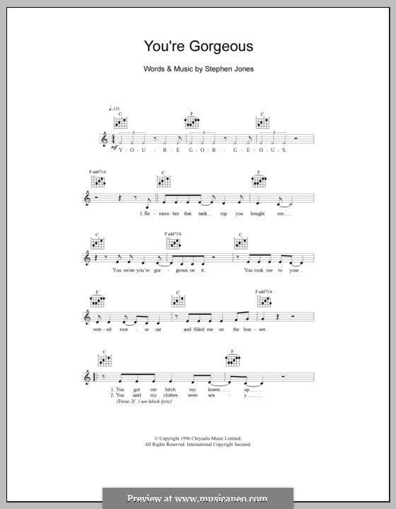 You're Gorgeous (Babybird): Melody line, lyrics and chords by Stephen Jones