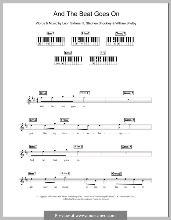 And the Beat Goes on (The Whispers): For keyboard by Leon Sylvers, Stephen Shockley, William Shelby