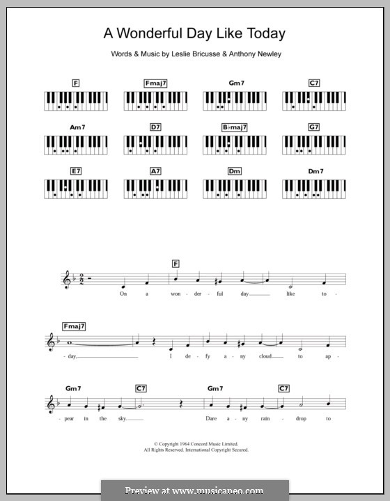 A Wonderful Day Like Today: For keyboard by Anthony Newley