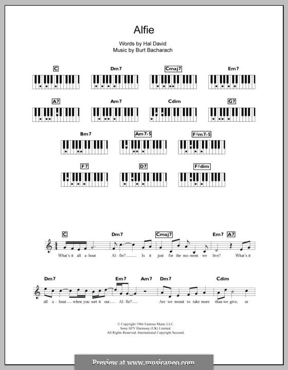 Alfie: For keyboard by Burt Bacharach