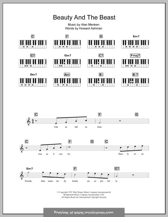 Beauty and the Beast (Celine Dion and Peabo Bryson): For keyboard by Alan Menken