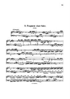 Suite for Harpsichord No.7 in A Major, BWV 824: Fragments by Johann Sebastian Bach