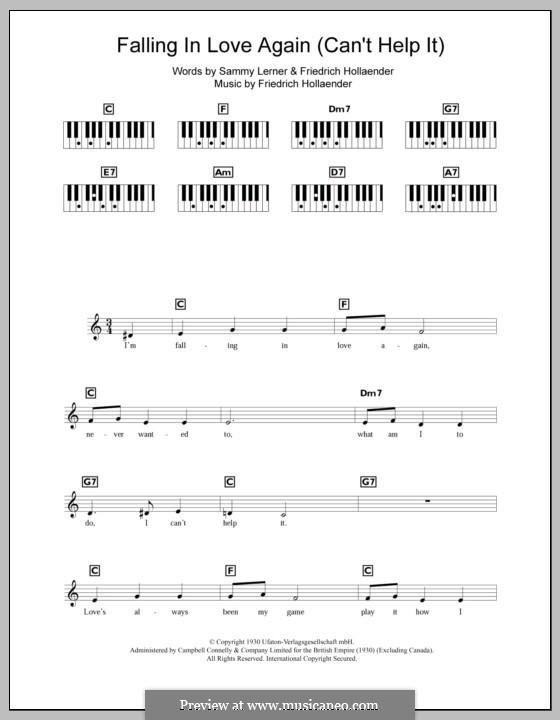 Falling in Love Again (Can't Help It): For keyboard by Friedrich Holländer