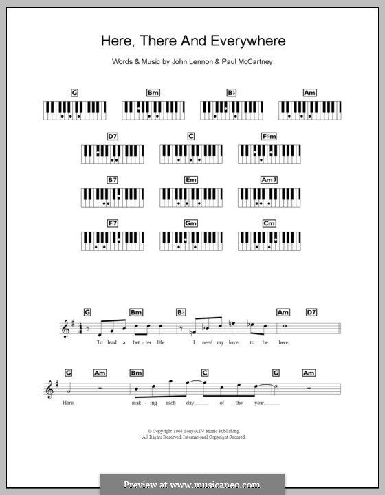 Here, There and Everywhere (The Beatles): For keyboard by John Lennon, Paul McCartney