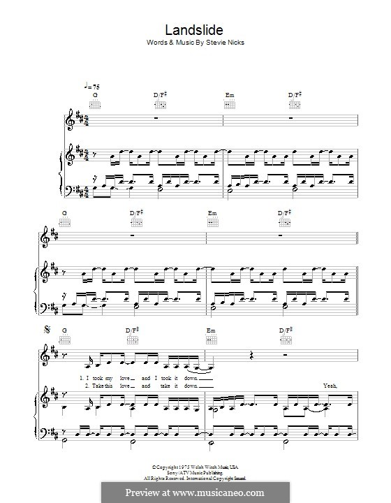 Landslide (Fleetwood Mac): For voice and piano (or guitar) by Stevie Nicks