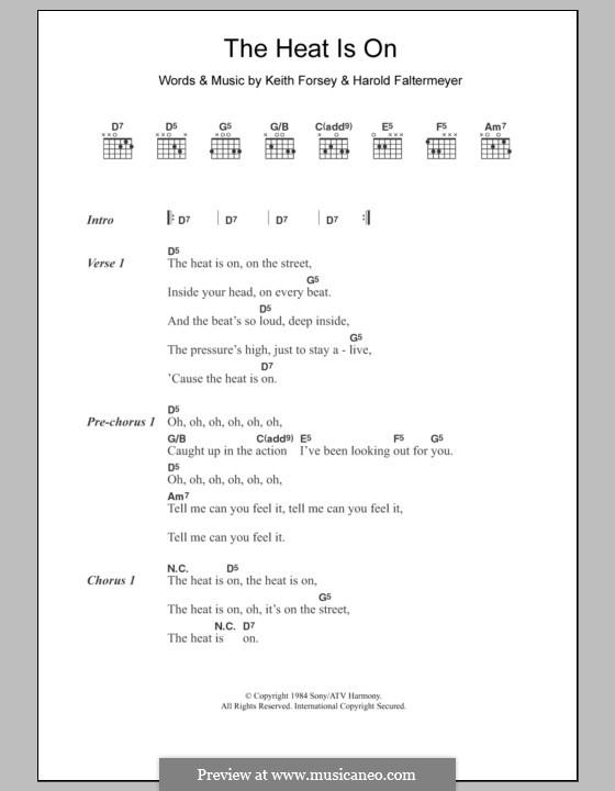 The Heat Is on (Glenn Frey): Lyrics and chords by Harold Faltermeyer, Keith Forsey