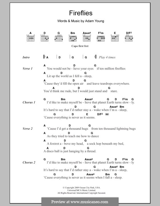 Fireflies (Owl City): Lyrics and chords by Adam Young