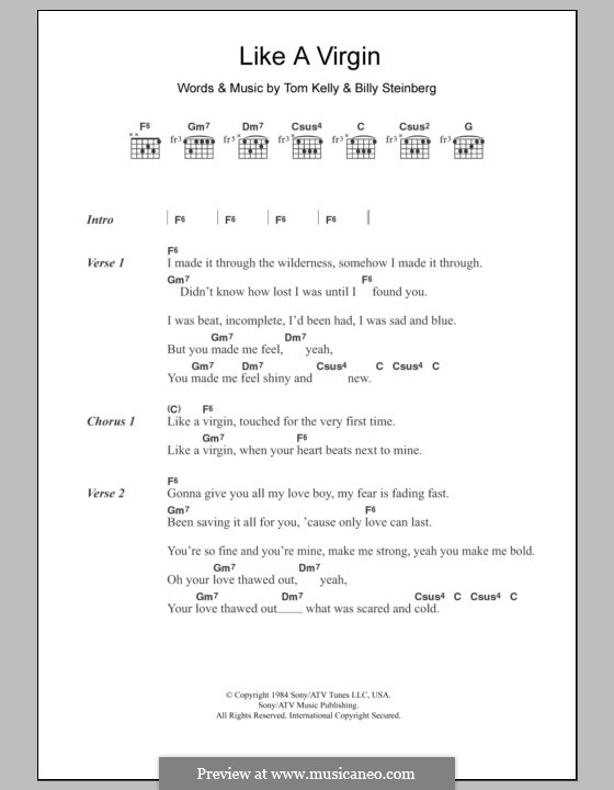 Like a Virgin (Madonna): Lyrics and chords by Billy Steinberg, Tom Kelly