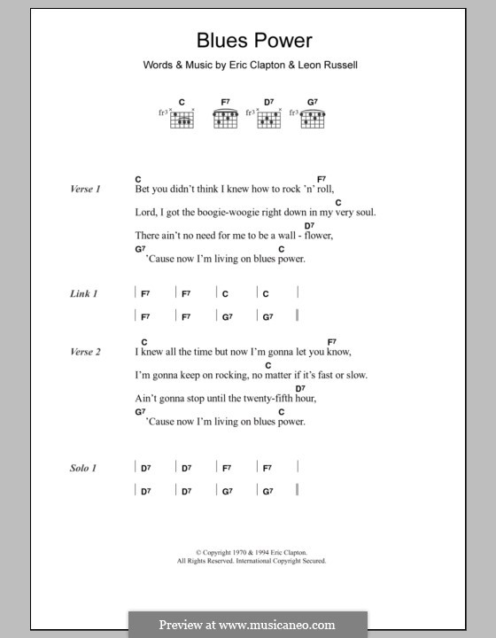 Blues Power: Lyrics and chords by Eric Clapton, Leon Russell