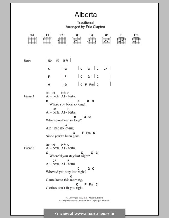 Alberta: Lyrics and chords by folklore