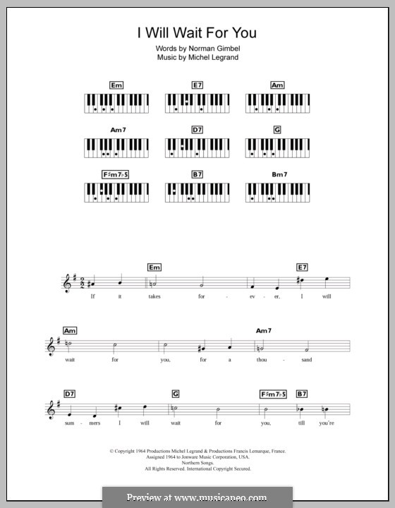 I Will Wait for You: For keyboard by Michel Legrand