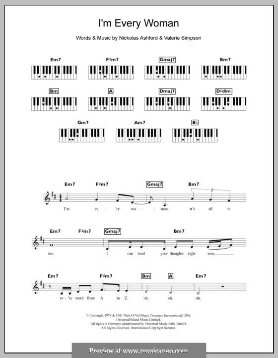 I'm Every Woman (Whitney Houston): For keyboard by Nicholas Ashford, Valerie Simpson