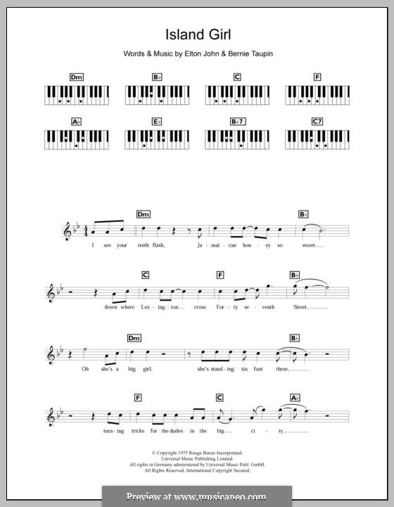 Island Girl: For keyboard by Elton John