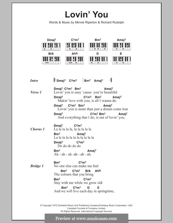 Lovin' You: Lyrics and piano chords by Minnie Riperton, Richard Rudolph