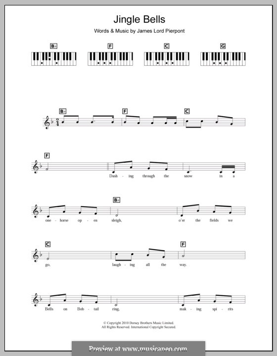 Jingle Bells (Printable scores): For keyboard by James Lord Pierpont