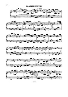 Prelude and Fugue No.21 in B Flat Major, BWV 890: For harpsichord by Johann Sebastian Bach