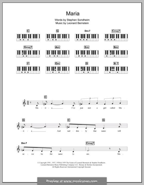 Maria: For keyboard by Leonard Bernstein