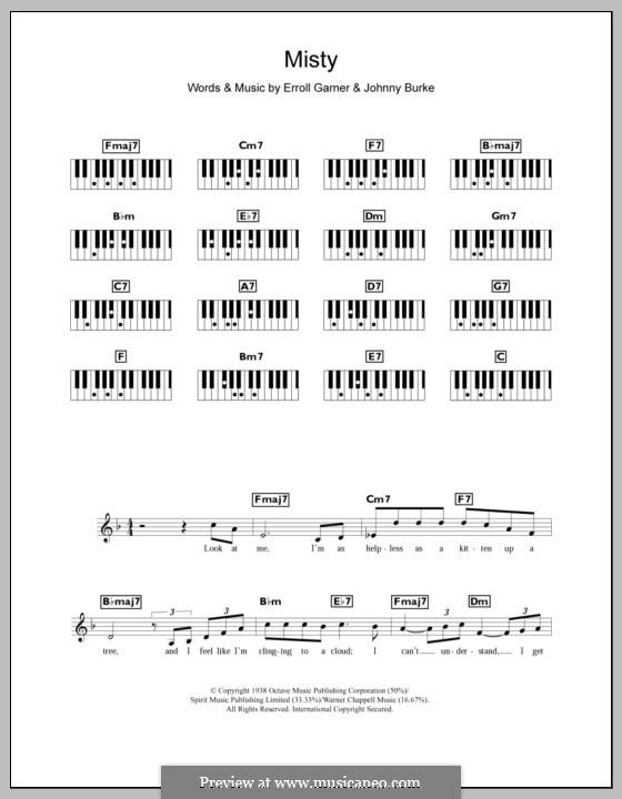 Misty (Johnny Mathis): For keyboard by Erroll Garner