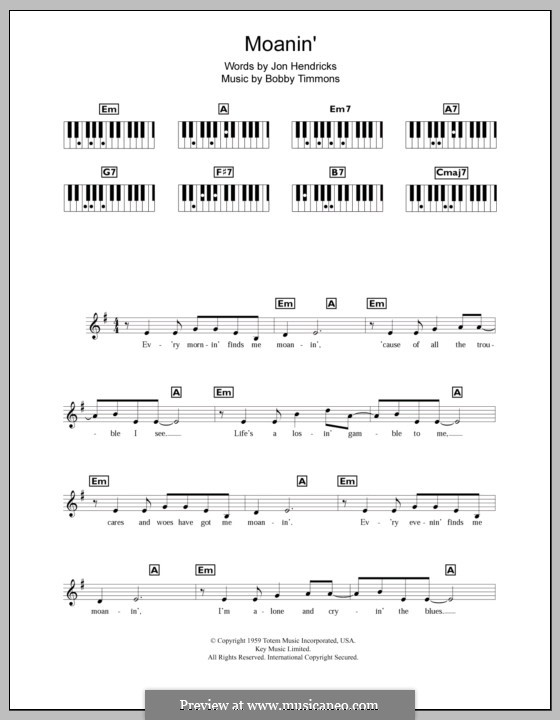 Moanin': For keyboard by Bobby Timmons
