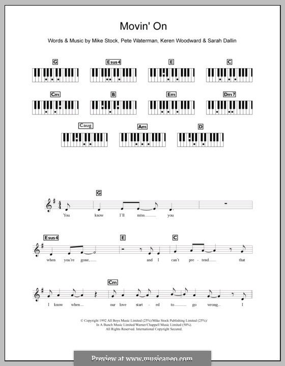 Movin' on (Steps): For keyboard by Keren Woodward, Mike Stock, Pete Waterman, Sarah Dallin